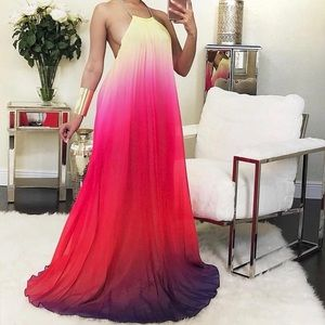 Multicolored vacation style maxi dress